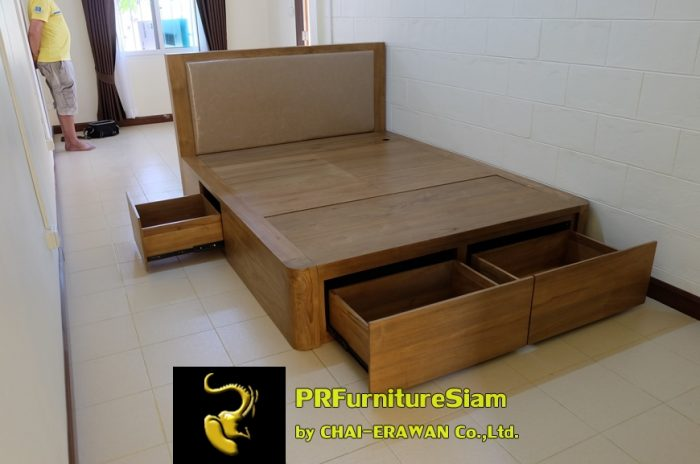 B32-Teak Bed with 5 Drawers (2)