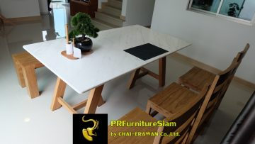 Teak Table with Top Marble Khun Palaparn Rayong (1)